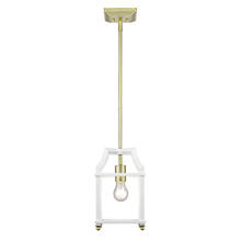 Golden 8401-M1L SB-WH - Leighton SB Mini Pendant in Satin Brass with White