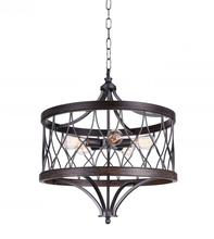 CWI Lighting 9966P23-5-242-B - 5 Light Drum Shade Chandelier with Gun Metal finish